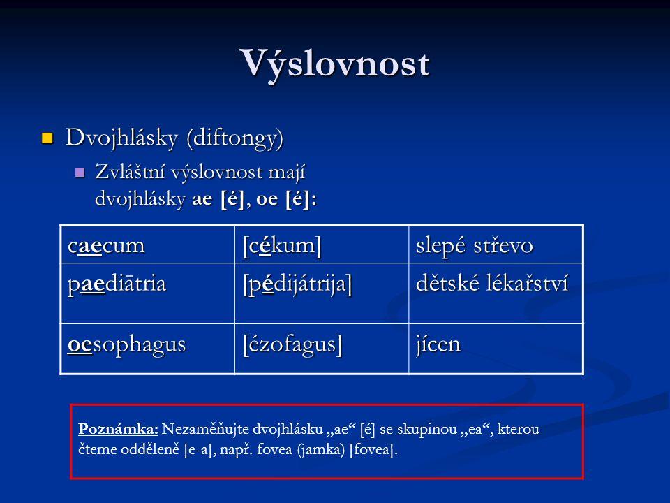 Výslovnost Dvojhlásky (diftongy) caecum [cékum] slepé střevo